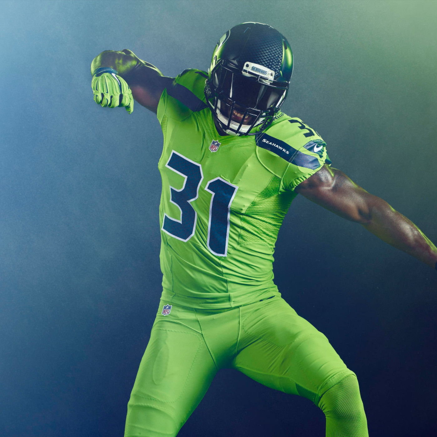 cheaper a4f92 6e2b6 Seahawks are wearing the best Color Rush uniforms yet on ...