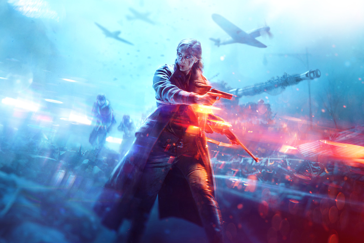 Key art used for the cover of Battlefield 5 standard edition features a female protagonist with a pistol and a carbine.