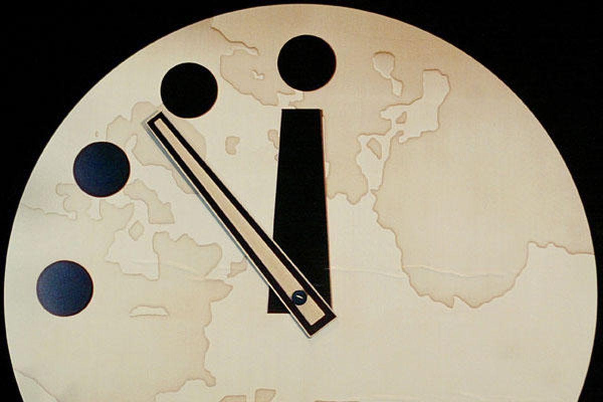 "THE RECKONING IS NIGH via <a href=""http://www.inquisitr.com/wp-content/2012/01/0114_doomsday_clock_newreading_full_600.jpg"">www.inquisitr.com</a>"