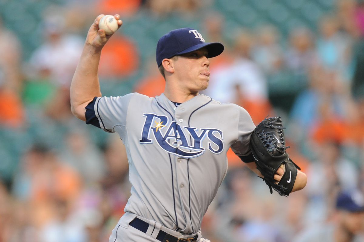 BALTIMORE, MD - JULY 24:  Jeremy Hellickson #58 of the Tampa Bay Rays pitches during a baseball game against the Baltimore Orioles on July 24, 2012 at Oriole Park at Camden Yards in Baltimore, Maryland.  (Photo by Mitchell Layton/Getty Images)
