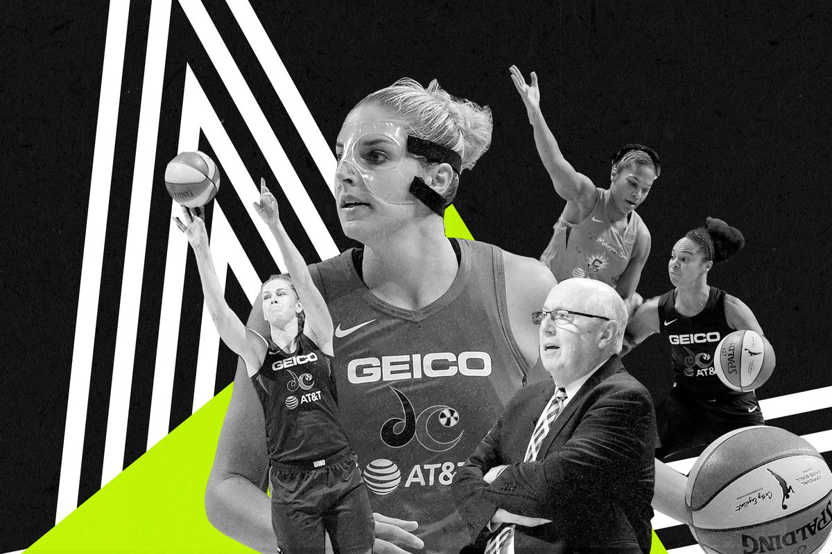 A collage of Mystics stars (from left to right): Emma Meesseman, Elena Delle Donne, head coach Mike Thibault.