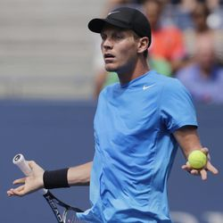 Czech Republic's Tomas Berdych reacts during his match against Britain's Andy Murray during a semifinal match at the 2012 US Open tennis tournament,  Saturday, Sept. 8, 2012, in New York.