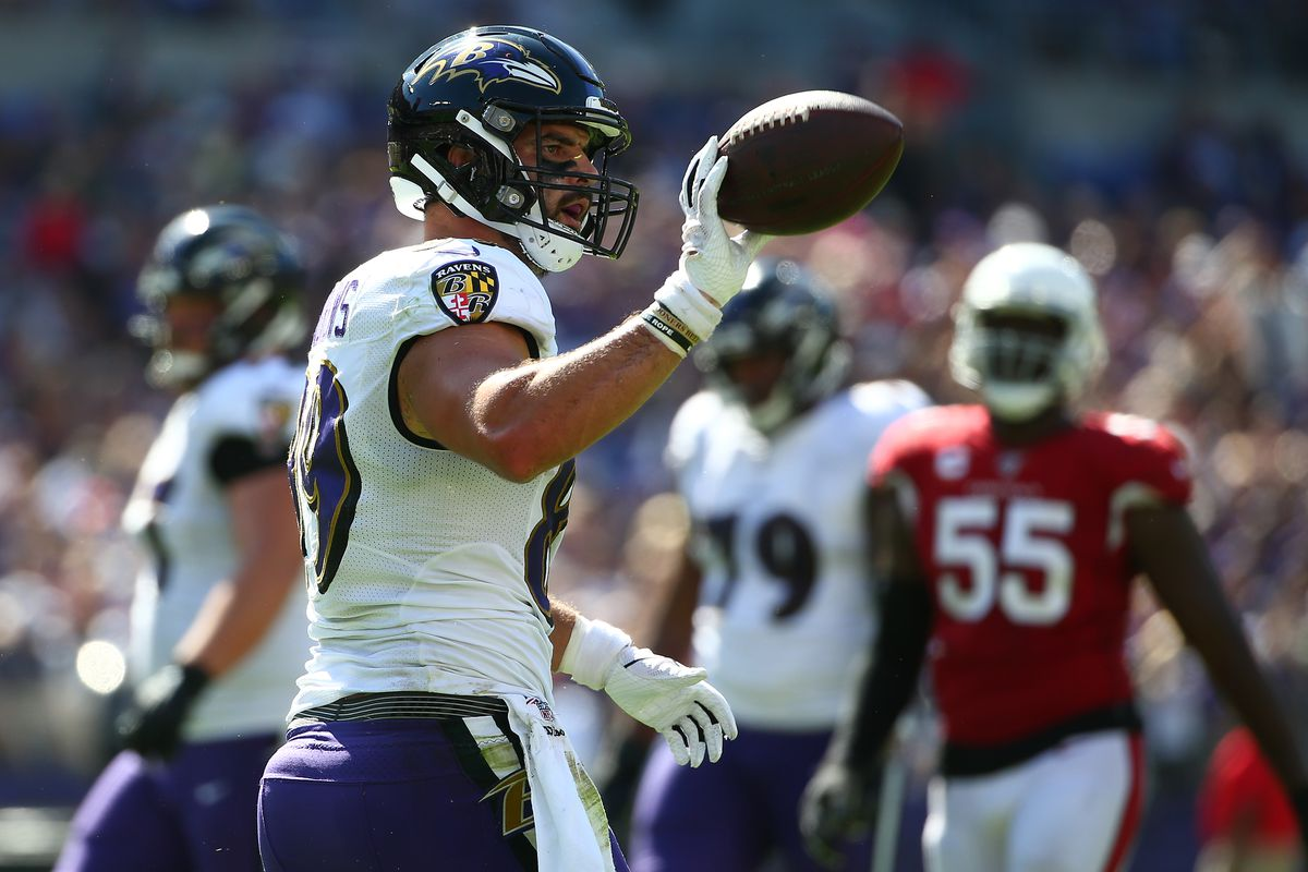 Mark Andrews of the Baltimore Ravens celebrates a first down against the Arizona Cardinals during the second half at M&T Bank Stadium on September 15, 2019 in Baltimore, Maryland.