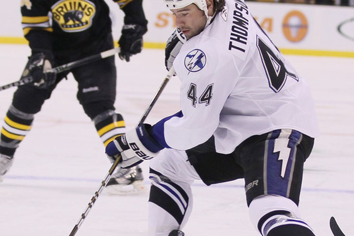 Nate Thompson has been part of the Tampa Bay Lightning's efficient penalty kill unit during the 2011 NHL Playoffs.  (Photo by Elsa/Getty Images)