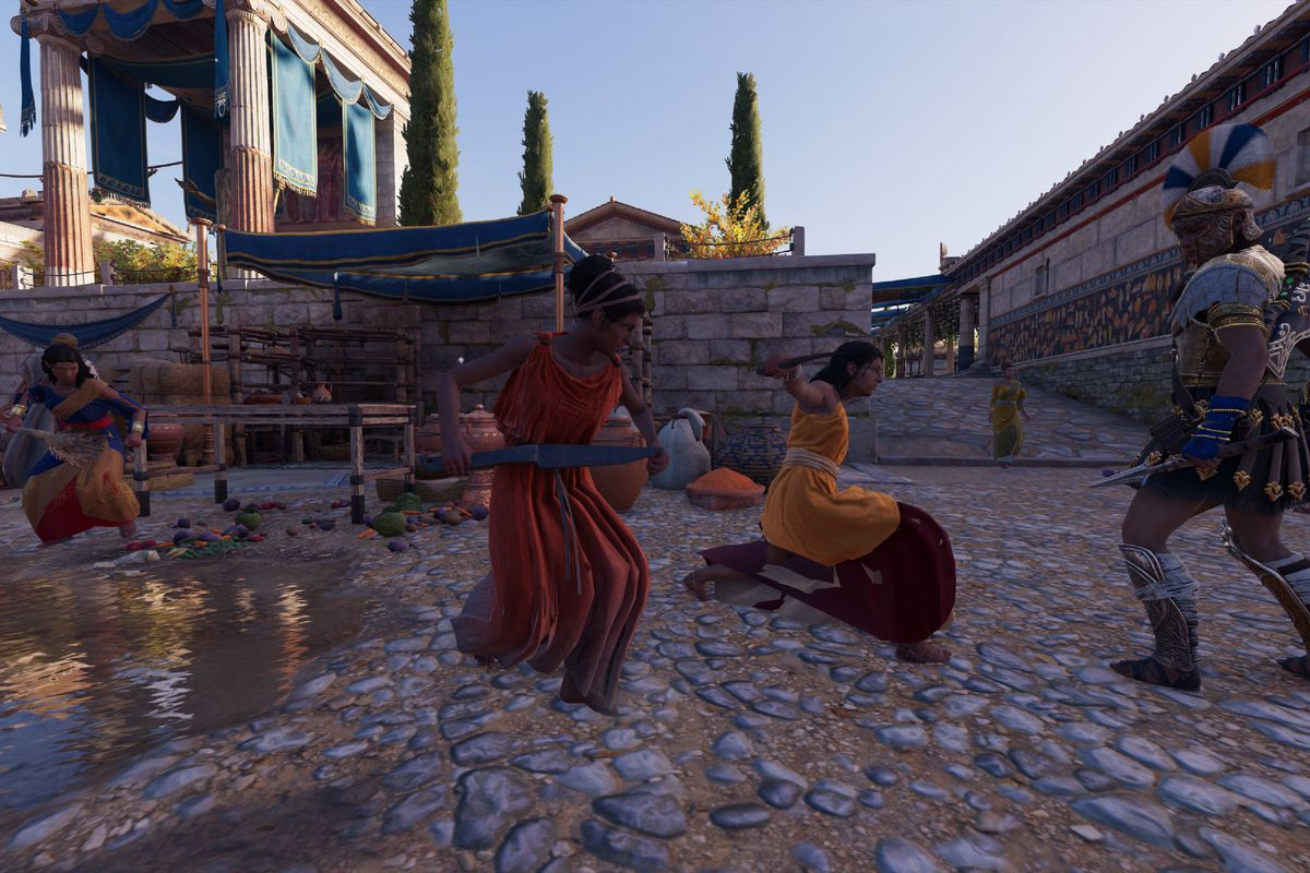 Assassin's Creed Odyssey - Kassandra menaced by civilians