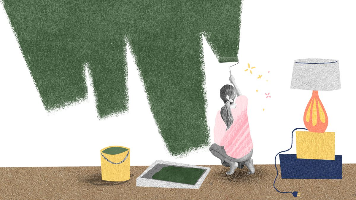 A woman kneels in her living room in an oversized pink tee shirt. She is painting her wall green with a paint roller. A paint bucket and roller tray sits to her left. Illustration.