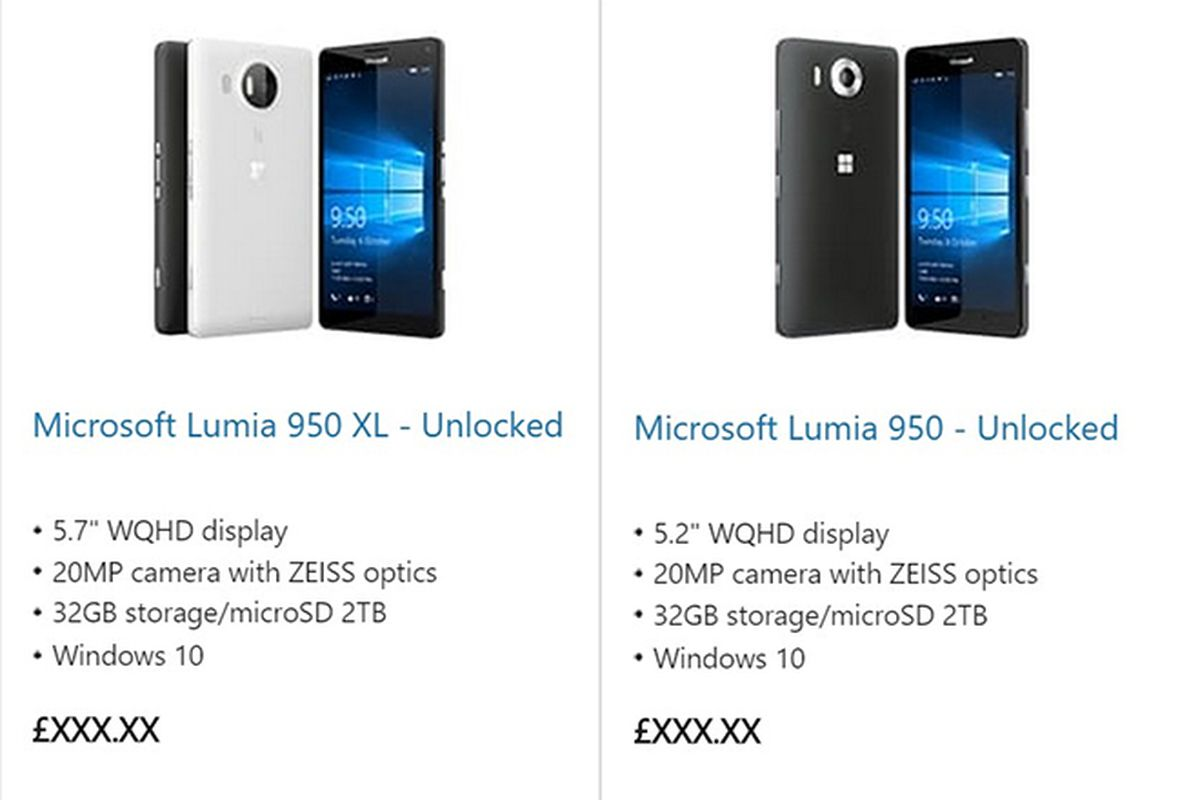 microsoft store accidentally lists new lumia 950 flagships online