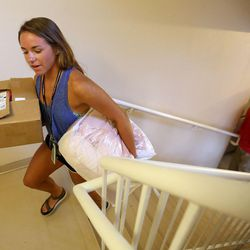 Heather Boland moves into her dorm at the University of Utah in Salt Lake City on Thursday, Aug. 17, 2017.