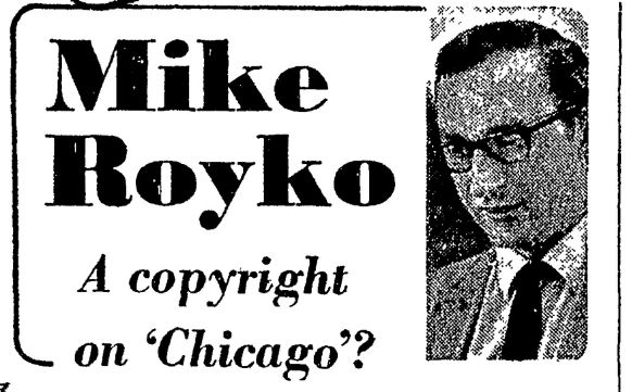 Mike Royko's column 'bug' as it appeared with the original 1975 Chicago Daily News column.