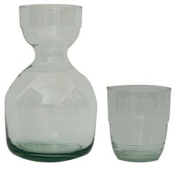 "<b>Be Home</b> Bedside Recycled Glass Carafe Set at <b>Lekker Home</b>, <a href=""http://www.lekkerhome.com/Tabletop/Serving/Bedside-Carafe-Recycled-Glass.html#.UqohNGRDtRF"">$37.50</a>"