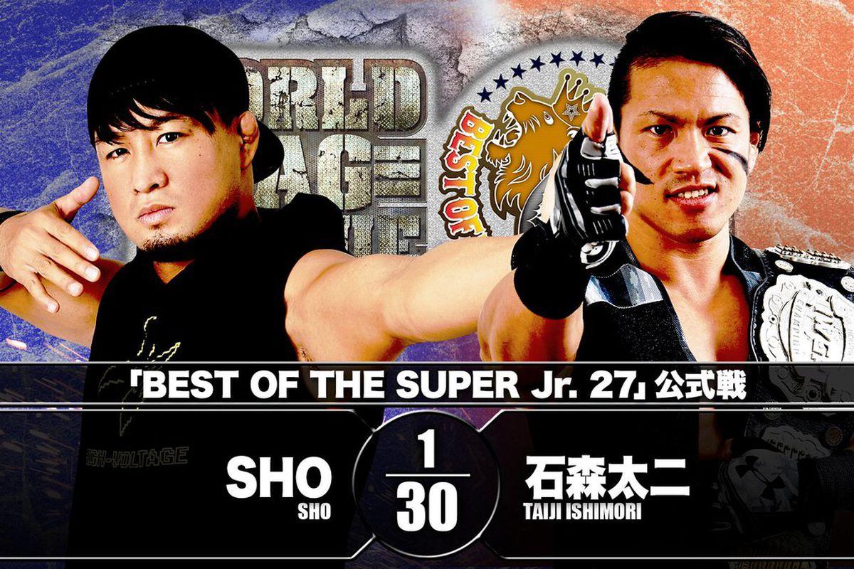 Match graphic for SHO vs. Taiji Ishimori at Best of the Super Jr. 27