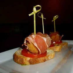 """Pan Tumaca (Toast with Tomato, Manchego, and Serrano ham) from Nai Tapas Bar by <a href=""""http://www.flickr.com/photos/eateryrow/8228470516/in/pool-eater"""">eateryROW</a>"""