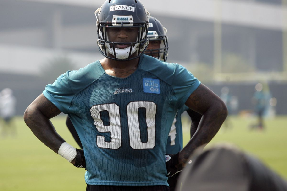May 6, 2012; Jacksonville FL, USA; Jacksonville Jaguars defensive end Andre Branch (90) works out during rookie mini camp at Florida Blue Health & Wellness Practice Fields. Mandatory Credit: Phil Sears-US PRESSWIRE