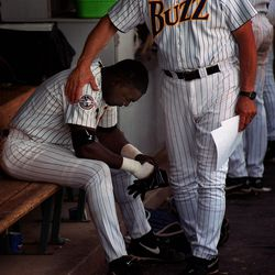 Buzz player David Ortiz mourns the team's loss to Vancouver.