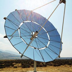 Infinia, the developer of this PowerDish on display Friday, Aug. 17, 2012, has declared bankruptcy. The company developed a field of these dishes that were touted during a groundbreaking ceremony celebrating the $8.7 million, 1.5 MW Stirling Solar Array at the Tooele Army Depot.