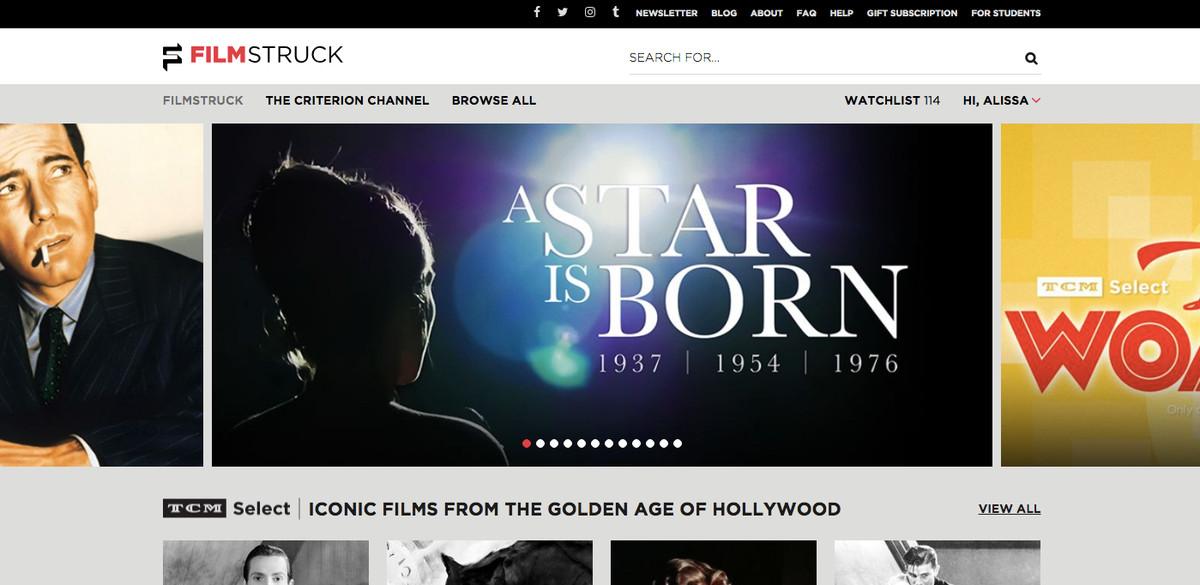 A screenshot of FilmStruck