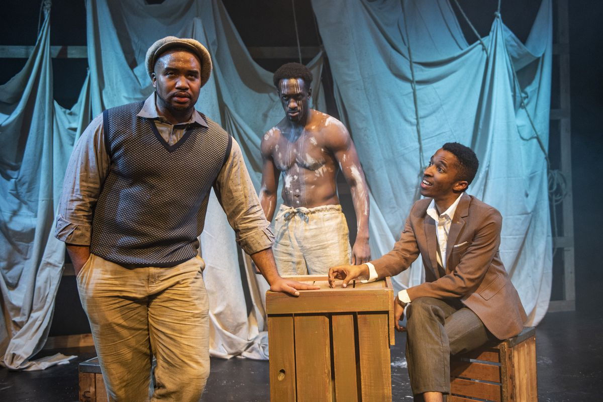 """Griffin Theatre was forced to cancel the lucrative final two weekends of """"Mlima's Tale"""" due to the mandatory shutdown of all theaters amid the coronavirus pandemic. Pictured in a scene from the production are Lewon Johns (from left), David Goodloe and Michael Turrentine."""