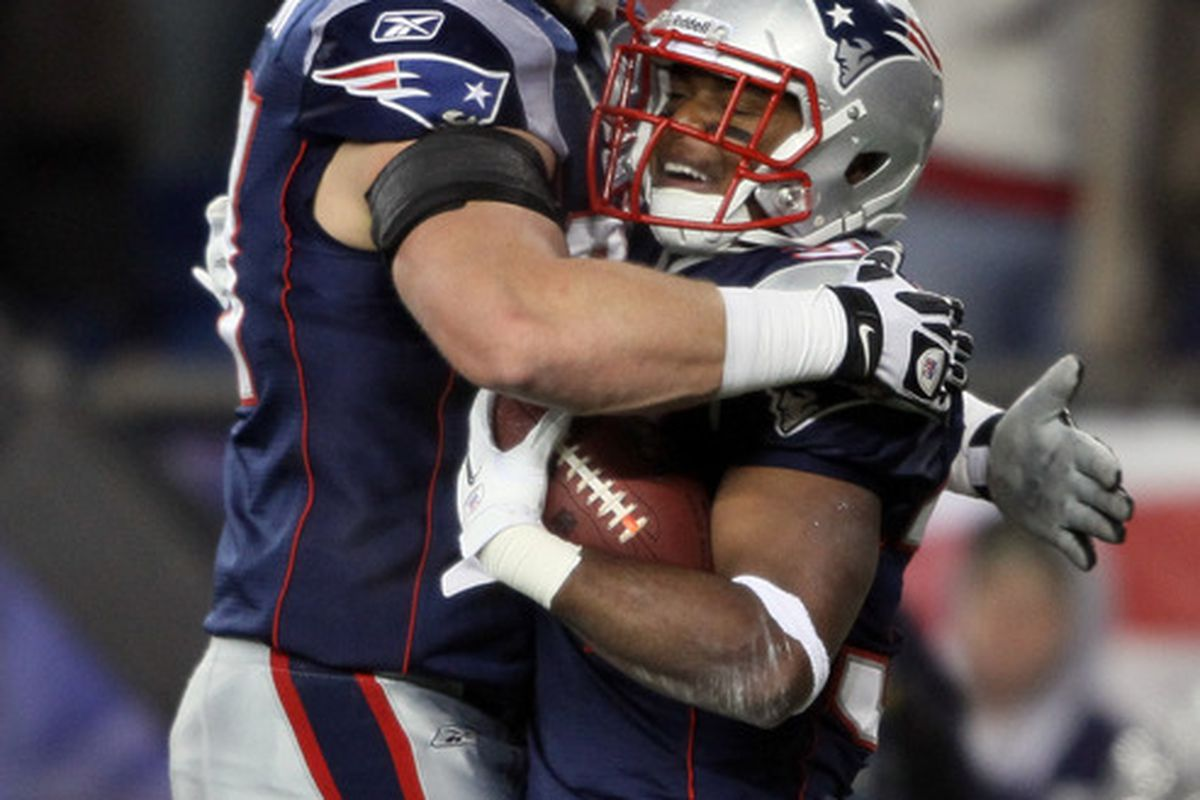 <em>Nate Solder congratulates Shane Vereen after a TD against Kansas City.  Could be a common scenario in 2012.</em>