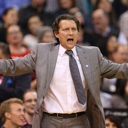 Utah Jazz head coach Quin Snyder shows emotion as the Utah Jazz and the Phoenix Suns play NBA basketball Monday, Dec. 21, 2015, in Salt Lake City.