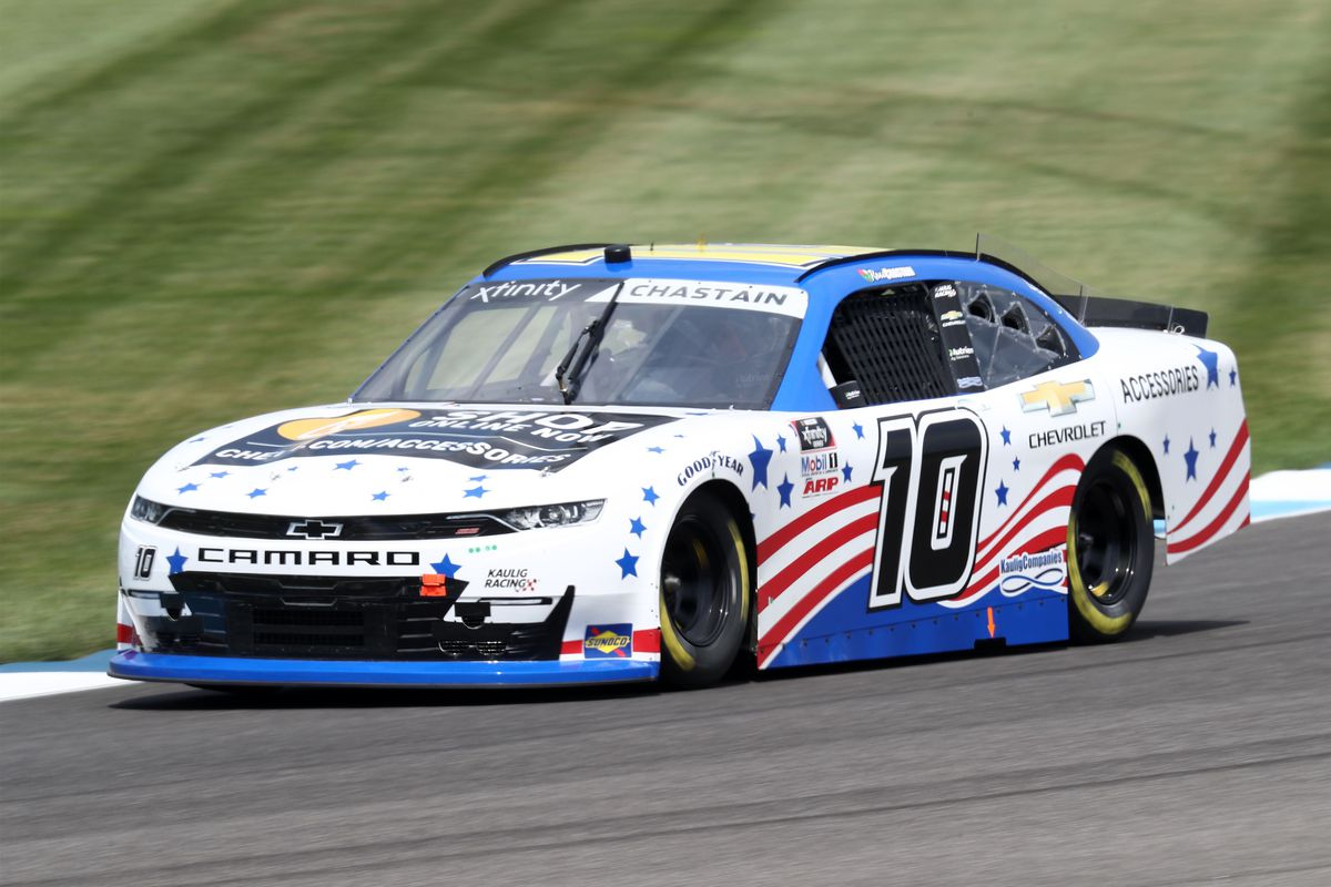 Ross Chastain, driver of the #10 Chevy Accessories Chevrolet, races during practice for the NASCAR Xfinity Series Pennzoil 150 at the Brickyard at Indianapolis Motor Speedway on July 03, 2020 in Indianapolis, Indiana.