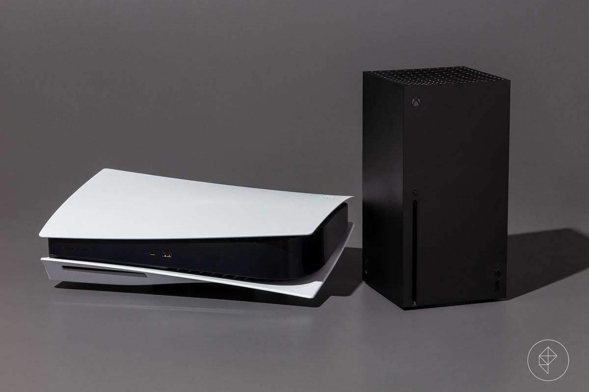 a PlayStation 5 sitting horizontally next to an Xbox Series X, photographed on a dark gray background