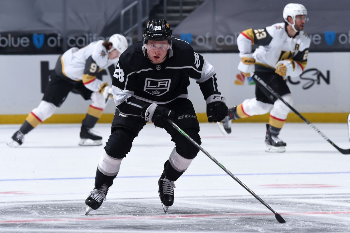 Jaret Anderson-Dolan #28 of the Los Angeles Kings skates on the ice during the second period against the Vegas Golden Knights at STAPLES Center on March 21, 2021 in Los Angeles, California.