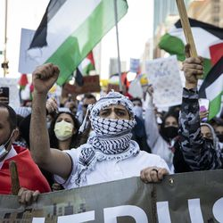 Thousands rally in support of Palestine on Michigan Avenue near Grant Park, Wednesday evening, May 12, 2021.