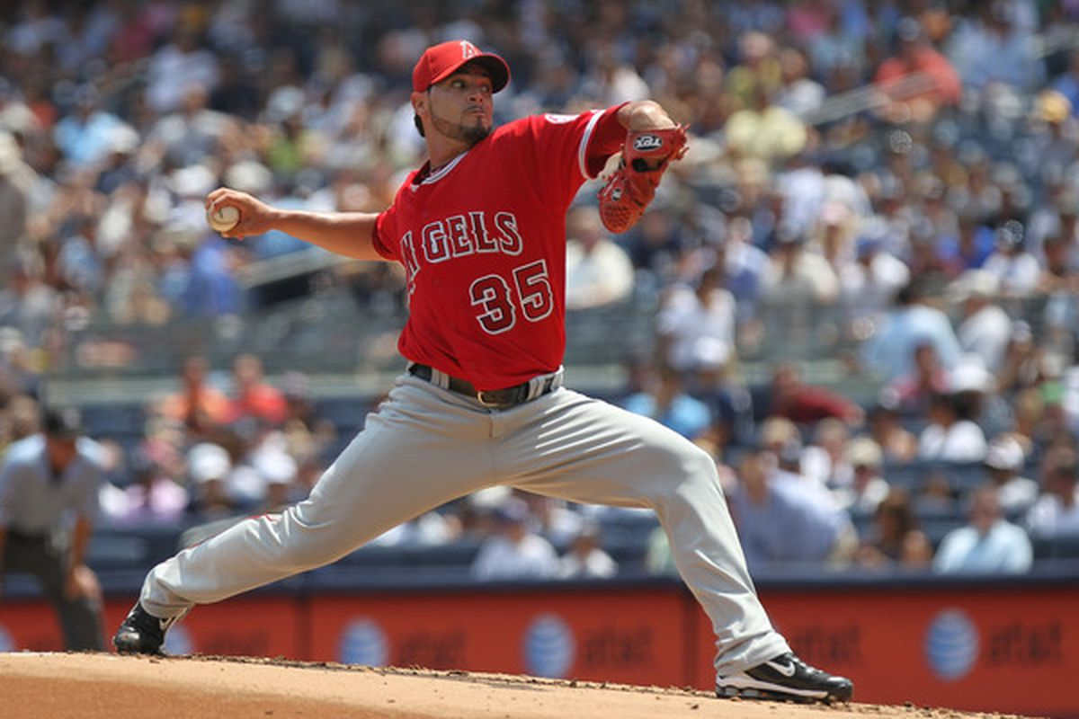 NEW YORK - JULY 21: Joel Pineiro #35 of the Los Angeles Angels of Anaheim pitches against the New York Yankees at Yankee Stadium on July 21 2010 in the Bronx borough of New York City.  (Photo by Nick Laham/Getty Images)