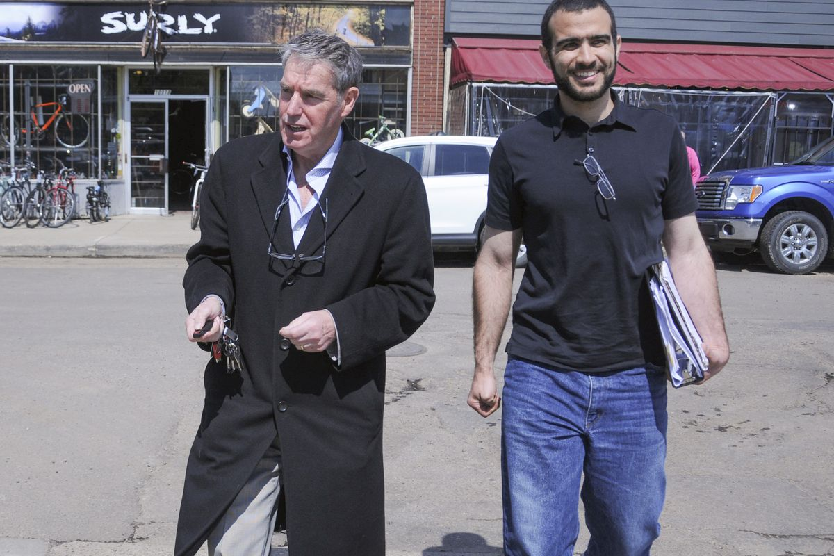 Omar Khadr, at right, on his first day of freedom. His lawyer is at left.