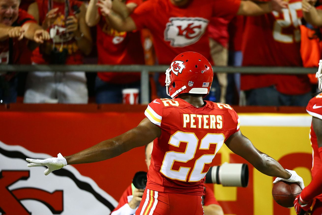 Kansas City Chiefs CB Marcus Peters celebrates after scoring a touchdown in Week 2 of the 2015 season