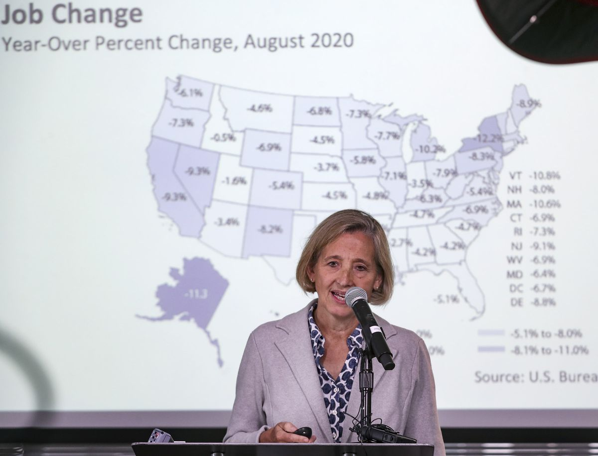 Natalie Gochnour, chief economist for the Salt Lake Chamber and director of the Kem C. Gardner Policy Institute, talks about the Road to Recovery dashboard that is being released by the chamber and the institute during a press conference in Salt Lake City on Sept. 21, 2020. The dashboard will track the state's path to a full and complete economic recovery from the COVID-19 recession. The dashboard will be updated monthly to provide essential insights, track 10 timely and leading measures, and share salient indicators since the start of the pandemic.