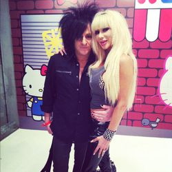 <del>Nikki Sixx of Mötley Crüe and his girlfriend</del> Billy Idol guitarist Steve Stevens with Josie Stevens