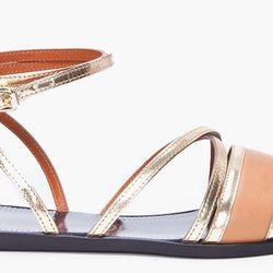 "<a href=""http://www.ssense.com/women/product/lanvin/gold_tone_multi-bride_sandals/52035""> Lanvin gold tone multi-bride sandal</a>, $650 ssense.com"
