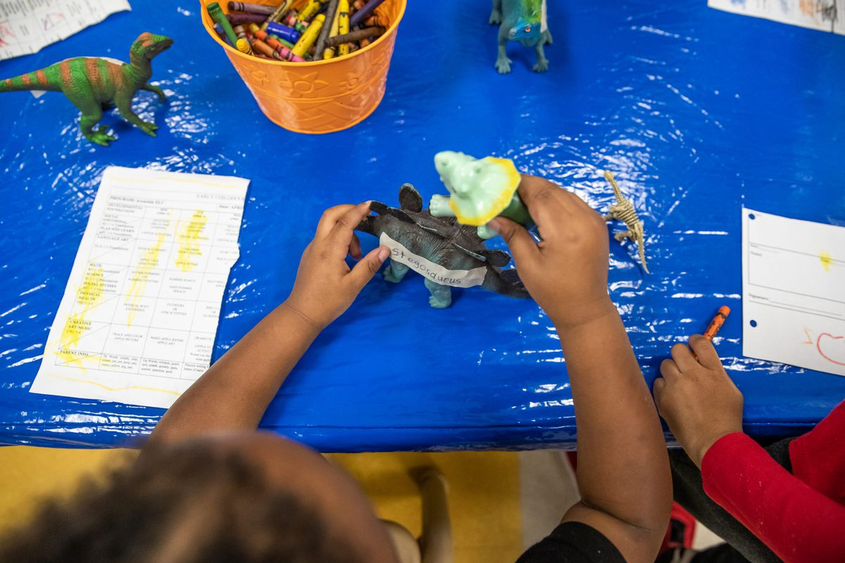 A child plays with two dinosaurs during a lesson at the Avondale Meadows YMCA Early Learning Center.