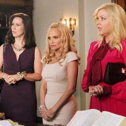 """In this undated image released by ABC, from left, Miriam Shor, Kristin Chenoweth and Jennifer Aspen are shown in a scene from the comedy series """"GCB,"""" airing Sundays at 10 p.m. EST on ABC."""