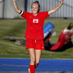 Manti's Ally Squire celebrates after scoring against Juab in the 3A high school soccer semifinals at Juan Diego High School in Draper on Wednesday, Oct. 21, 2020.