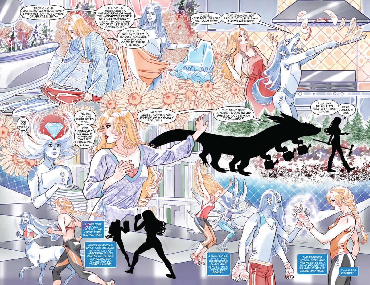 Un montaje de dos páginas bellamente diseñado de Superwoman haciéndose amigas y compartiendo actividades con un cambiaformas alienígena agender en Future State: Kara Zor-El, Superwoman # 1