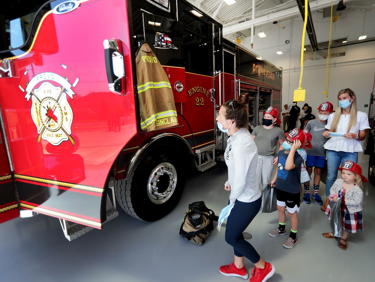 Community members check out a firetruck during the grand opening of Provo Fire Station 22 on Friday, Sept. 11, 2020. Firefighters past and present were honored during the Patriot Day dedication.