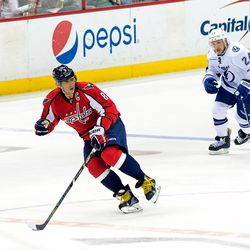 Ovechkin Skates With Puck at Neutral Zone