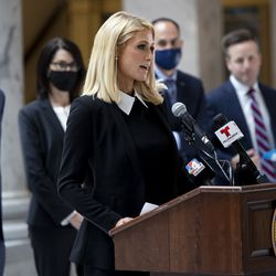 Paris Hilton speaks as she joins Gov. Spencer J. Cox, Lt. Gov. Deidre Henderson, Sen. Mike McKell and Rep. Brady Brammer at a ceremonial signing of SB127, Human Services Program Amendments, in the rotunda of the Capitol in Salt Lake City on Tuesday, April 6, 2021. SB127 increases transparency in Utah's congregate care programs.