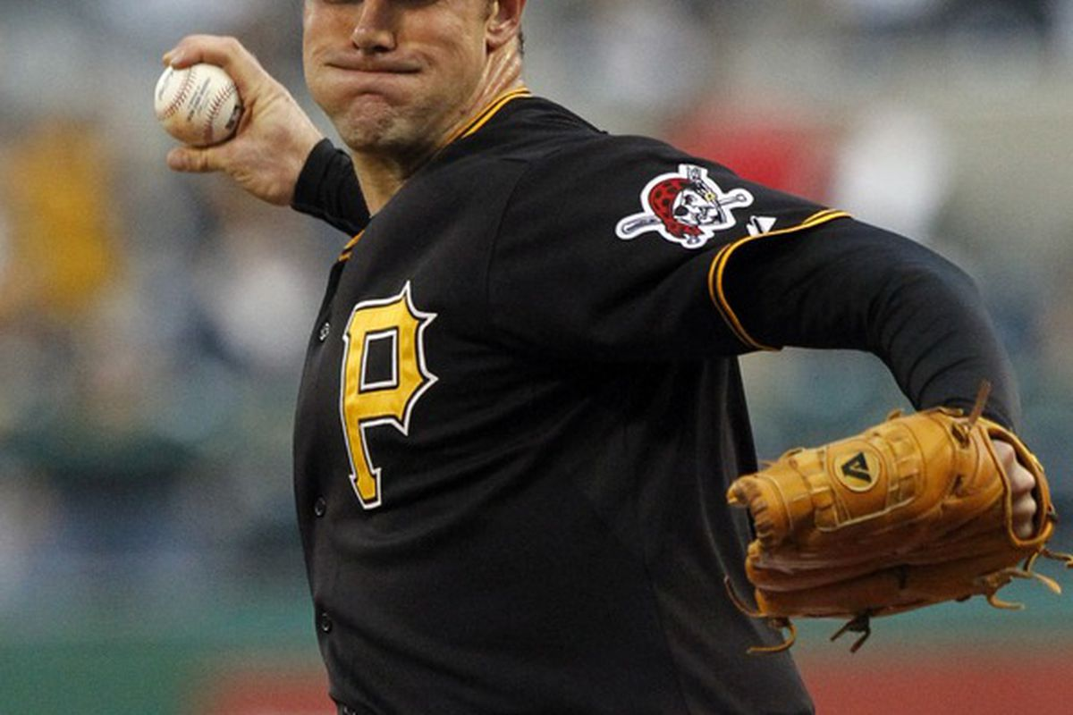 PITTSBURGH, PA - SEPTEMBER 09:  Ross Ohlendorf #49 of the Pittsburgh Pirates pitches against the Florida Marlins during the game on September 9, 2011 at PNC Park in Pittsburgh, Pennsylvania.  (Photo by Justin K. Aller/Getty Images)