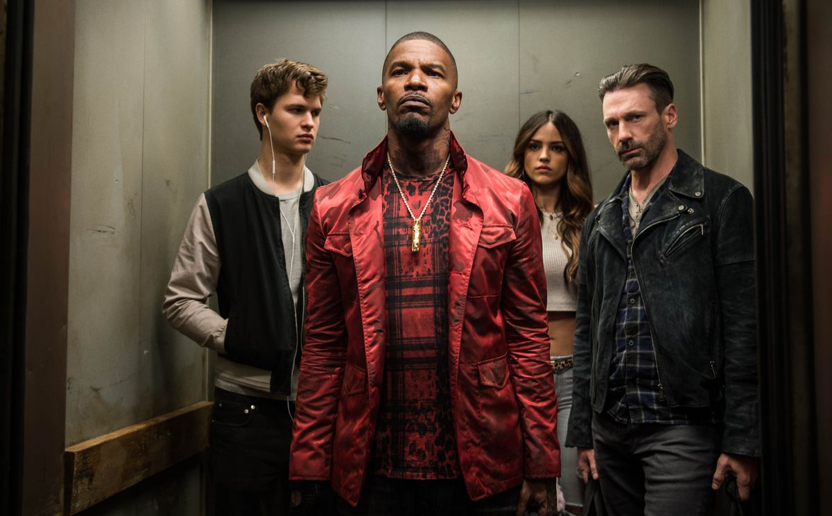 """Ansel Elgort (from left), Jamie Foxx, Eiza Gonzalez and Jon Hamm in """"Baby Driver."""" 