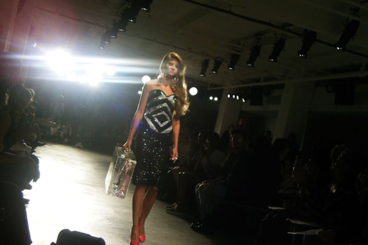 A Barbie-esque model at last night's runway show by the Blonds