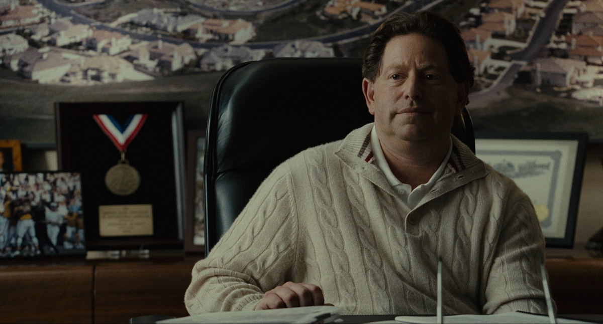Bobby Kotick as Oakland A's owner Stephen Schott in a scene from Moneyball