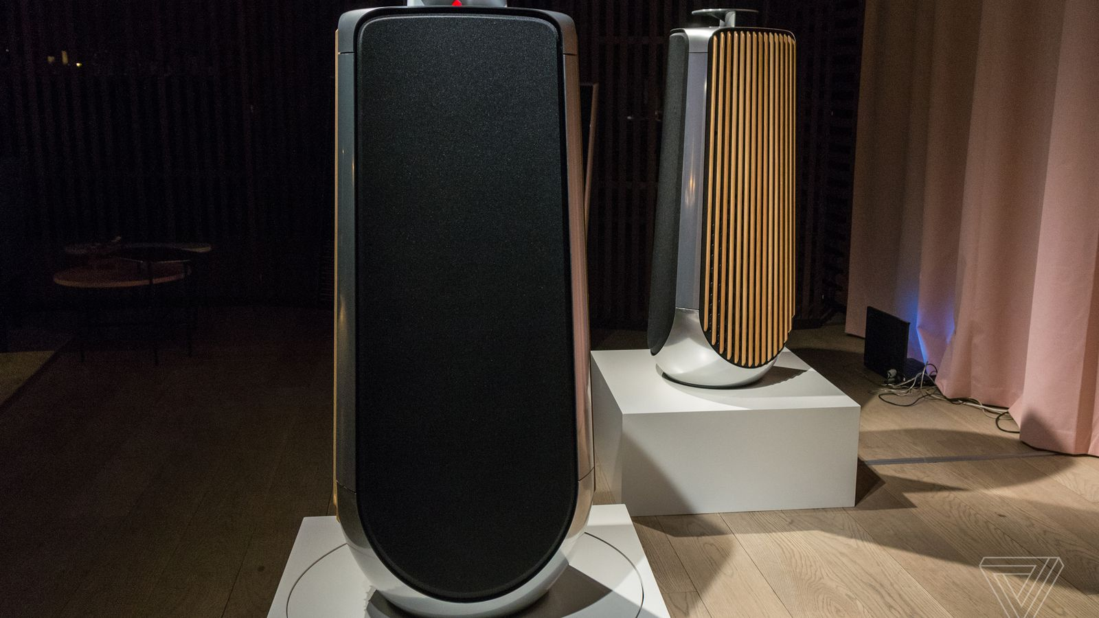 bang olufsen s 40 000 speakers feature machined aluminum and oak grates the verge. Black Bedroom Furniture Sets. Home Design Ideas