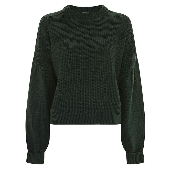 Green topshop pleated sweater