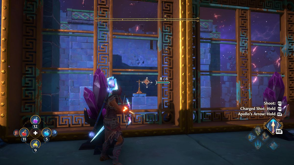 A puzzle solution in the Odysseus's Prison Vault of Tartaros in Immortals Fenyx Rising
