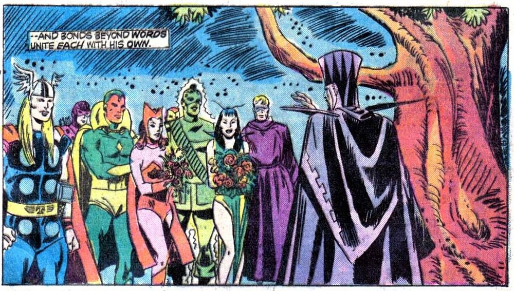 A panel from Giant-Size Avengers #4, showing Vision and Scarlet Witch's original 1975 double wedding