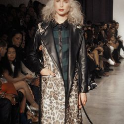 Leopard and leather trench coat with detachable sleeves? Yes, please.