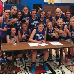 Panguitch senior Darri Frandsen, who will play basketball for SUU, celebrates with her team.